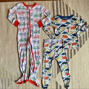 4T pajamas - dinos and bikes